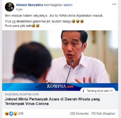 [Cek Fakta] Jokowi Minta Perbanyak Acara Wisata agar Banyak Rakyat Tewas karena Korona? Hoaks