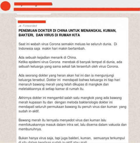 [Cek Fakta] Benarkah Irisan Bawang Merah Dapat Menyerap dan Membunuh Virus Korona? Hoaks