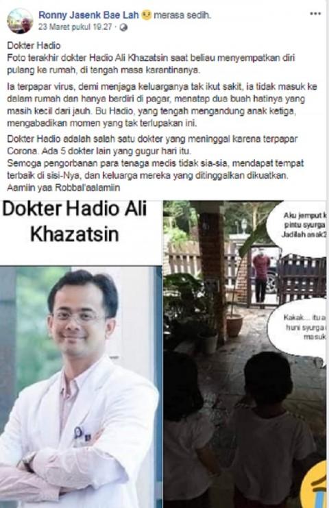 [Cek Fakta] Viral Foto Pertemuan Terakhir Dokter Hadio dengan Dua Anaknya, Hoaks