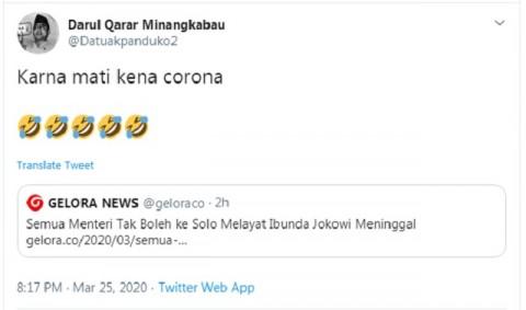 [Cek Fakta] Menteri Dilarang Melayat ke Solo karena Ibunda Jokowi Meninggal Positif Korona? Ini Faktanya