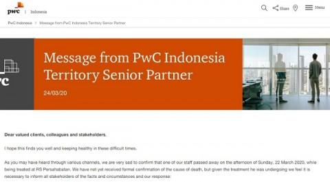 [Cek Fakta] Direktur PWC Indonesia Meninggal karena Positif Korona? Ini Faktanya