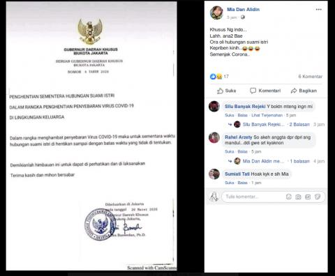 [Cek Fakta] Warga Jakarta Dilarang Melakukan Hubungan Suami Istri selama Pandemik Covid-19? Ini Faktanya