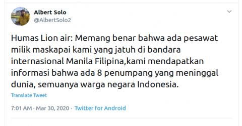 [Cek Fakta] Lion Air Jatuh di Bandara Manila Filipina Hoaks, Ini Faktanya
