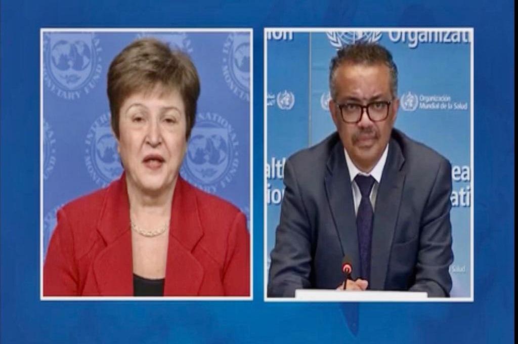 Dirjen WHO Tedros Adhanom Ghebreyesus (kanan) dan Managing Director IMF Kristalina Georgieva. (Foto: PTRI Jenewa)