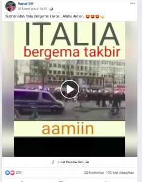 [Cek Fakta] Rakyat Italia Menggemakan Takbir di Tengah Pandemi Covid-19? Ini Faktanya