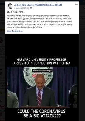 [Cek Fakta] FBI Tangkap Profesor Harvard yang Dibayar Tiongkok untuk Menciptakan Virus Korona? Ini Faktanya