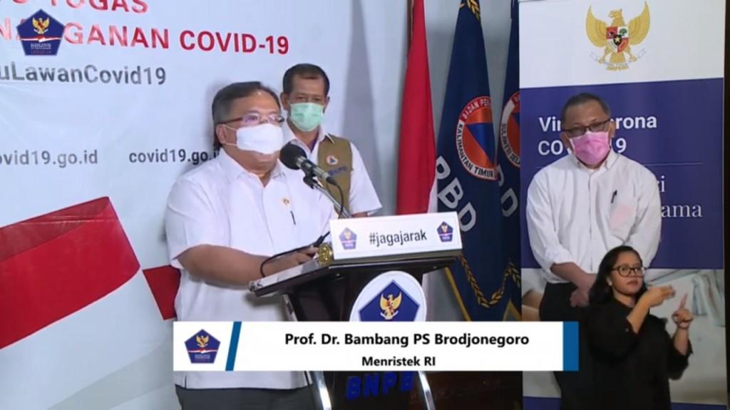 Menristek/Kepala BRIN Bambang Brodjonegoro. Foto: Tangkapan layar vide konferensi.