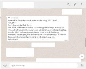 [Cek Fakta] Selama 3 Hari Ini Dianjurkan tidak Keluar Rumah Ada Angin Pembawa Penyakit Lewat Indonesia? Ini Faktanya