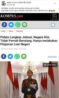 Jokowi Bantah Indonesia Pernah Berutang Hanya Pinjaman Luar Negeri