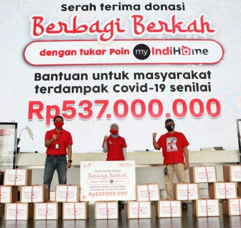 IndiHome Serahkan 3 Ribu Paket Sembako Senilai Rp537 Juta kepada Masyarakat Terdampak Covid-19