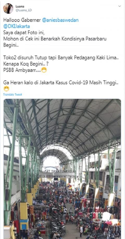 [Cek Fakta] Foto Penampakan Pasar Baru Jakarta Ramai PKL di Tengah PSBB? Ini Faktanya