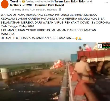 [Cek Fakta] Video Warga Hindu India Membuang Patung Dewa ke Sungai karena Korona? Ini Faktanya