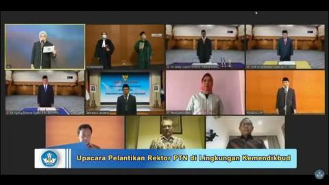 Kemendikbud Lantik Tiga Rektor PTN Secara Daring