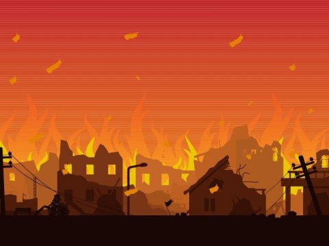 Rumah Padat Hunian di Pegangsaan Kebakaran