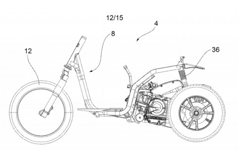 Piaggio Rancang Tricycle Baru, Dua Roda Dibelakang