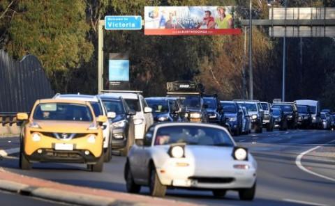 Jalanan Macet Jelang Lockdown di Melbourne