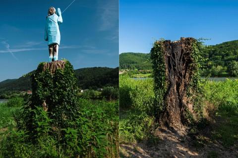 Patung Melania Trump di Slovenia Dibakar