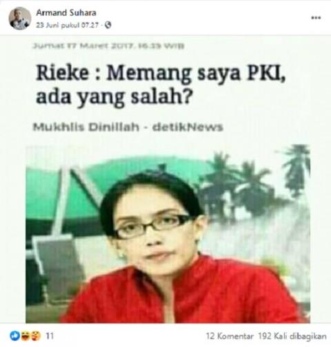 [Cek Fakta] Rieke Diah Pitaloka Mangaku PKI? Cek Faktanya