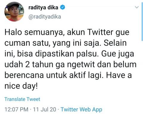 Raditya Dika Kembali ke Twitter lalu Pergi Lagi