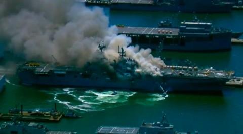 Kapal Perang AS Terbakar, 21 Orang Dilaporkan Terluka