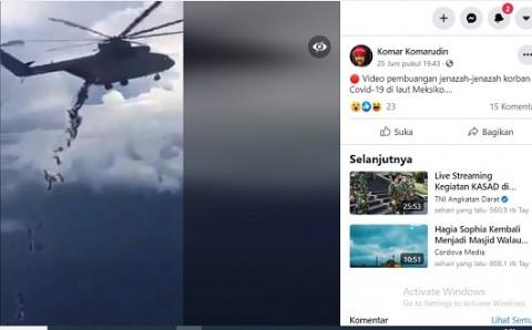 [Cek Fakta] Video Helikopter Buang Jenazah Covid-19 ke Laut dari Atas Langit? Cek Faktanya
