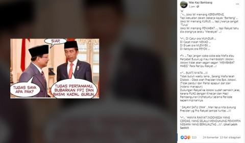 [Cek Fakta] Beredar Foto Jokowi Perintahkan Prabowo Bubarkan FPI? Ini Faktanya