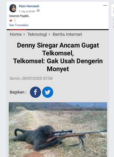[Cek Fakta] Telkomsel Sebut Denny Siregar Monyet? Cek Faktanya