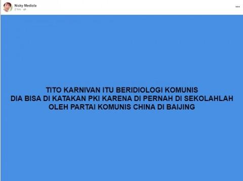 [Cek Fakta] Tito Karnavian Berideologi Komunis karena Pernah Disekolahkan Partai Komunis Tiongkok di Beijing? Cek Faktanya