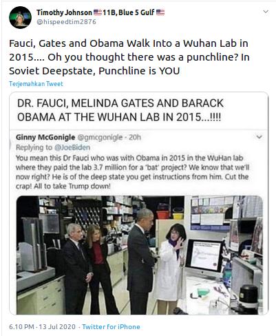 [Cek Fakta] Beredar Foto Obama, Fauci dan Melinda Gates di Laboratorium Wuhan pada 2015? Ini Faktanya
