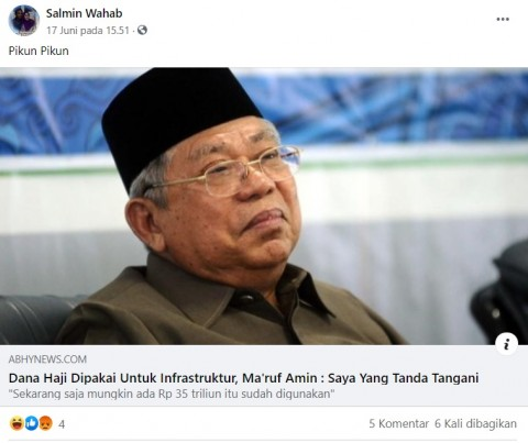 [Cek Fakta] Ma'ruf Amin Tandatangani Dana Haji untuk Proyek Infrastruktur? Ini Faktanya