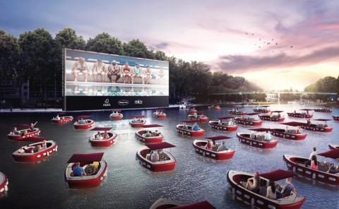 Desain Bioskop Terbuka di Tengah Sungai