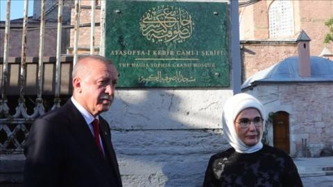 Erdogan Resmikan Papan Nama Masjid Hagia Sophia