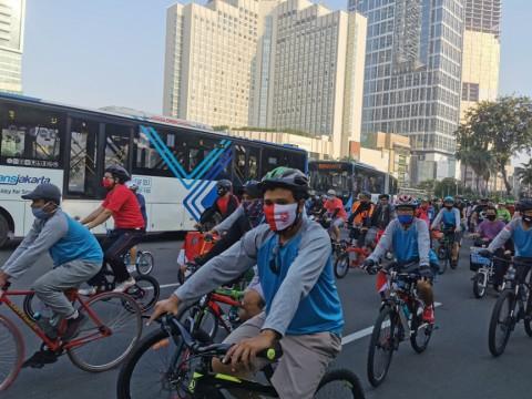 Pesepeda Dominasi Kawasan Sudirman-Thamrin
