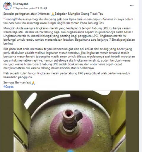 [Cek Fakta] Lingkaran Merah di Tabung Gas LPG Indikator Ledakan? Ini Faktanya