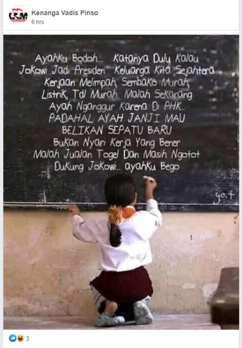 [Cek Fakta] Foto Anak Kecil Tulis Keluhan ke Jokowi di Papan Tulis? Ini Faktanya