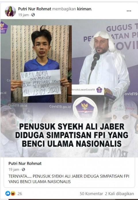 [Cek Fakta] Penusuk Syekh ALi Jaber Simpatisan FPI yang Benci Ulama Nasionalis? Ini Faktanya