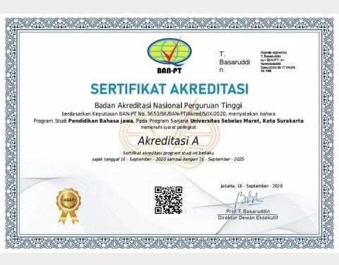 Prodi Pendidikan Bahasa Jawa UNS Raih Akreditasi A