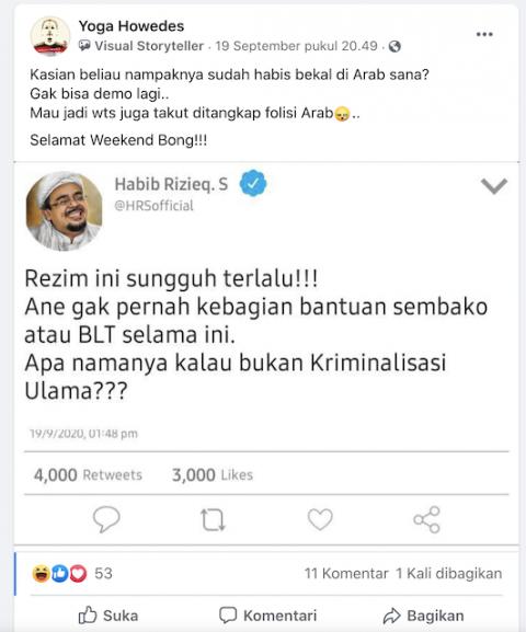 [Cek Fakta] Di Twitter, Habib Rizieq Ngeluh tak Kebagian Sembako dari Rezim? Ini Faktanya