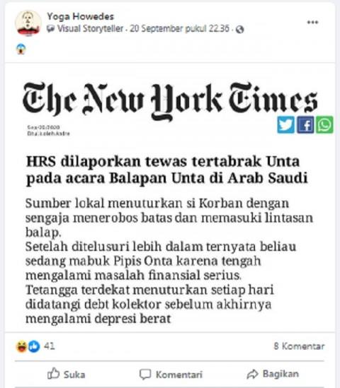 [Cek Fakta] HRS Dilaporkan Tewas Tertabrak Unta di Arab Saudi? Ini Faktanya