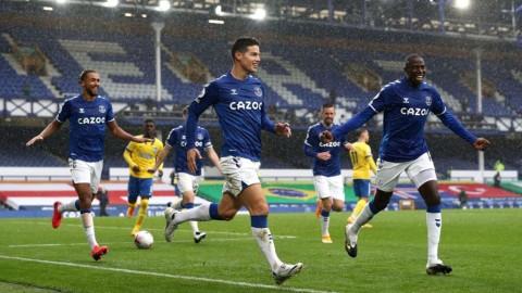 Everton vs Brighton: James Rodriguz Angkat The Toffees ke Puncak Klasemen