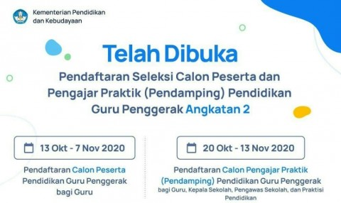 Pendaftaran Guru Penggerak Angkatan Dua Dibuka Hingga 7 November
