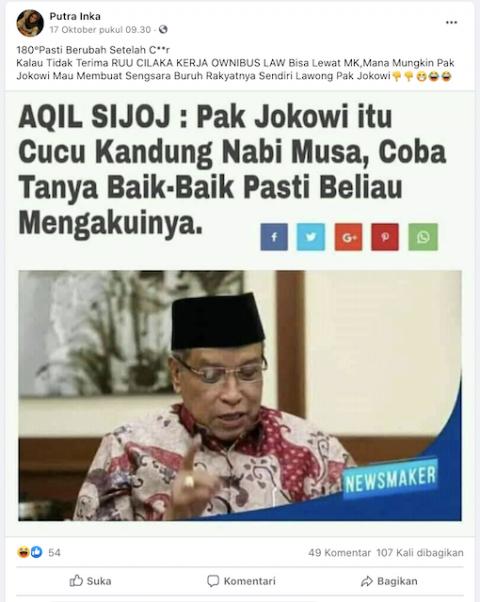 [Cek Fakta] Jokowi Disebut Cucu Kandung Nabi Musa? Ini Faktanya