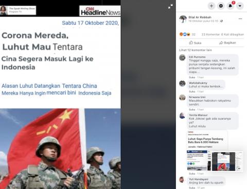 [Cek Fakta] Menteri Luhut Ingin Tentara Tiongkok Masuk ke Indonesia? Cek Faktanya