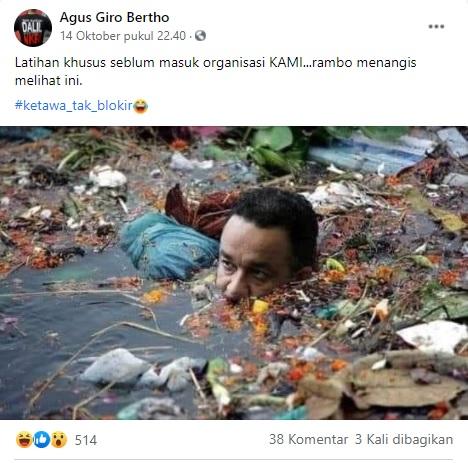 [Cek Fakta] Foto Anies Baswedan Berendam di Air Penuh Sampah? Ini Faktanya