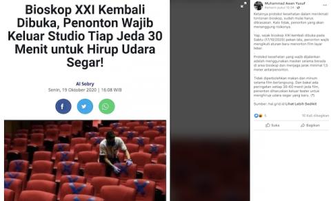 [Cek Fakta] Penonton Bioskop Wajib Keluar Studio Tiap 30 Menit? Ini Faktanya