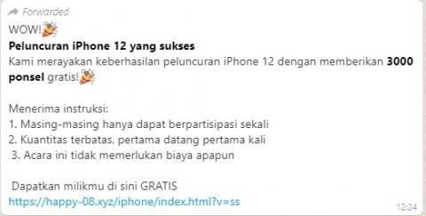 [Cek Fakta] Peluncuran Iphone 12 Bagi-Bagi 3.000 Ponsel Gratis? Ini Faktanya