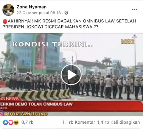 [Cek Fakta] Viral Video MK Resmi Gagalkan UU Omnibuslaw Setelah Jokowi Dicecar Mahasiswa? Cek Faktanya