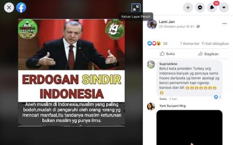[Cek Fakta] Banarkah Erdogan Sindir Indonesia Sebut Muslim di Indonesia Aneh dan Bodoh? Cek Faktanya