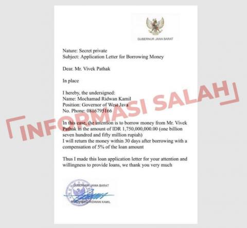 [Cek Fakta] Ridwan Kamil Ajukan Surat Utang ke Bank Dunia Rp1,750 Miliar? Cek Faktanya