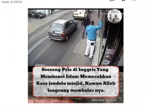 [Cek Fakta] Beredar Video Pria di Inggris Hancurkan Jendela Masjid dan Langsung Kecelakaan Balasan dari Tuhan? Ini Faktanya